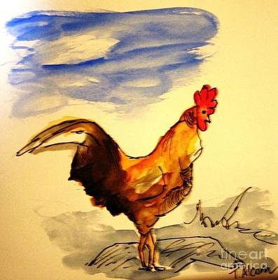 Chicken Painting - Mr Rooster - Original Sold by Therese Alcorn