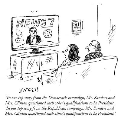 Hillary Clinton Drawing - Mr Sanders And Mrs Clinton Questioned Each by David Sipress