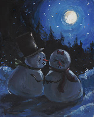 Sparkly Painting - Mr Snowman Steals A Kiss by Kim Marshall