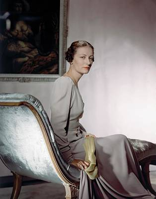 Mrs. Cameron Clark Sitting On A Chaise Lounge Art Print by Horst P. Horst