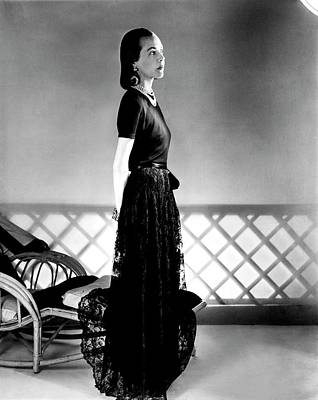 Full-length Portrait Photograph - Mrs. Carroll Carstairs Wearing A Lace Skirt by Horst P. Horst