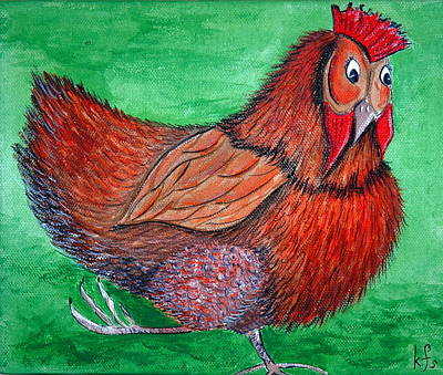 Bird Painting - Mrs Chicken by Kathy Spall