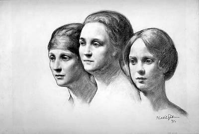 Kahlil Gibran Drawing - Mrs. Erdmann, Mrs. Whitney And Mrs by Kahlil Gibran