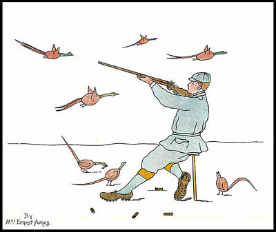 Artful And Whimsical Digital Art - Mrs. Ernest Ames Pheasant Hunting  by Pierpont Bay Archives