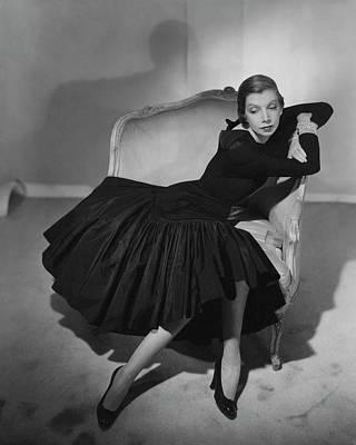 Cross Legged Photograph - Mrs. Fairfax Potter Wearing A Taffeta Dress by Horst P. Horst