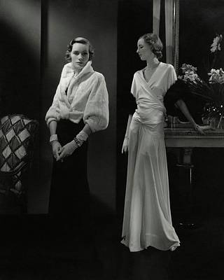 Mrs. Francis A. Wyman Wearing An Ermine Jacket Art Print by Edward Steichen