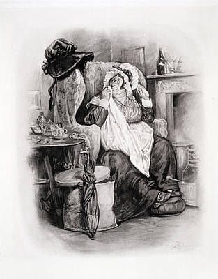 Nurse Shark Drawing - Mrs Gamp, From Charles Dickens A Gossip by Frederick Barnard