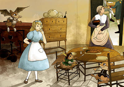 Mrs. Gage's Kitchen Art Print by Reynold Jay