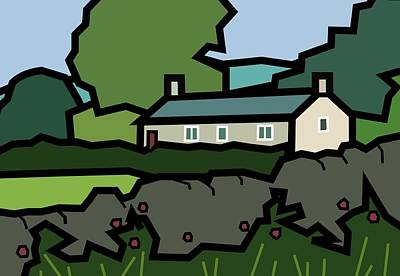Mrs Hartly's Cottage Art Print by Kenneth North
