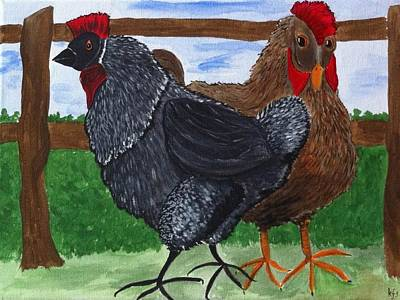 Chicken Painting - Mrs Hen2 by Kathy Spall