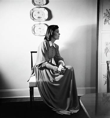 Photograph - Mrs. James Polk Wearing A Czettel Dress by Horst P. Horst