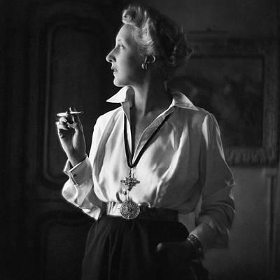 Cross Necklace Photograph - Mrs. John Rawlings Smoking by Frances McLaughlin-Gill