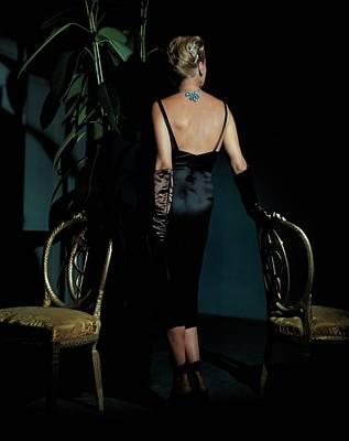 Mrs. John Rawlings Wearing A Diamond Necklace Art Print by John Rawlings
