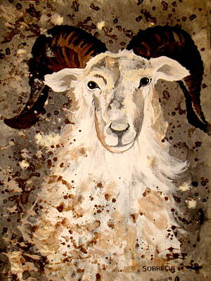 Art Print featuring the painting Powell Mountain Goat by Amy Sorrell