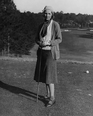 Mrs. Preston Davies On A Golf Course Art Print by Artist Unknown