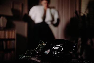 Photograph - Mrs. Tyron Behind A Telephone by John Rawlings