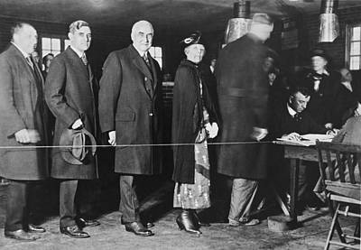 Photograph - Mrs. Warren Harding Voting by Underwood Archives