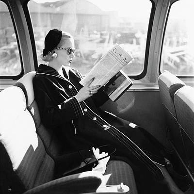 1950s Fashion Photograph - Mrs. William Mcmanus Reading On A Train by Leombruno-Bodi