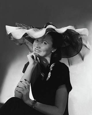 Mrs. Willis Hunt Wearing A Lilly Dache Hat Art Print by Horst P. Horst