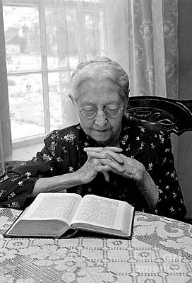 Photograph - Mrs. Zuber And Her Bible by Joan Liffring-Zug Bourret