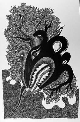Jangarh Singh Shyam Painting - Ms 55 Bagh Devta by Mayank Shyam