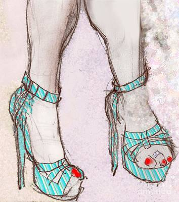 Mixed Media - Ms. Cindy's Blue Shoes by Carolyn Weltman