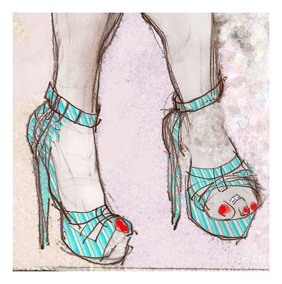 Fetish Art Mixed Media - Ms. Cindy's Blue Shoes - Throw Pillow by Carolyn Weltman