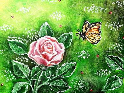 Painting - Ms. Monarch And Her Ladybug Friends by Shana Rowe Jackson