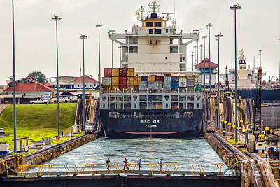 Photograph - Msc Kim Container Ship Panama Canal by Rene Triay Photography