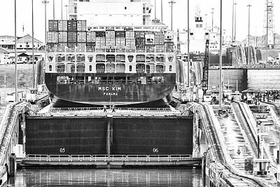 Photograph - Msc Kim Panama Canal-monochrome by Rene Triay Photography