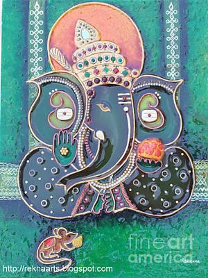 Painting - Mseal Ganesha Mural Painting by Rekha Artz