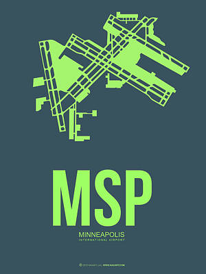 Minneapolis Mixed Media - Msp Minneapolis Airport Poster 2 by Naxart Studio
