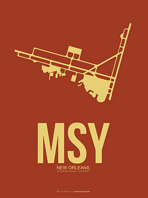 New Orleans Wall Art - Digital Art - Msy New Orleans Airport Poster 1 by Naxart Studio