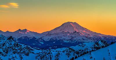 Mt Adams Sunset Review-2 Art Print