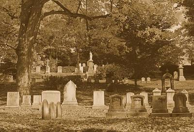 Photograph - Mt Auburn Cemetery 13 Sepia by Michael Saunders