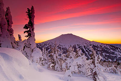 Mountain Royalty-Free and Rights-Managed Images - Mt. Bachelor Winter Twilight by Kevin Desrosiers