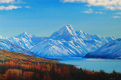 Ice Climbing Painting - Mt. Cook And Lake Pukaki by Bruce McLachlan