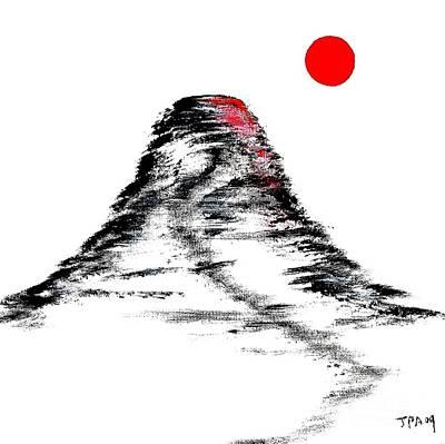 Mt Fuji Sun Burst Painting Original by Gordon Lavender