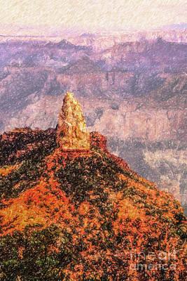 Grand Canyon Digital Art - Mt Hayden North Rim Grand Canyon by Liz Leyden