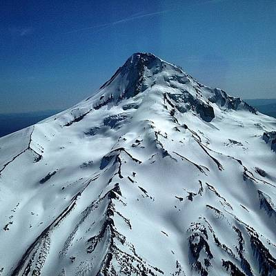 Helicopter Photograph - Mt. Hood From My Seat In The News by Mike Warner