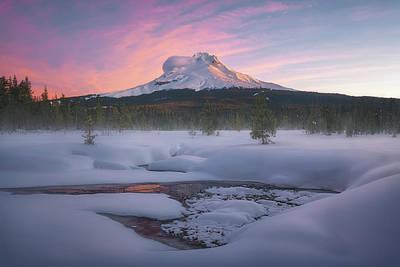 Mt. Hood Photograph - Mt. Hood Winter Sunrise by Steve Schwindt