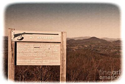 Photograph - Mt. Jefferson / Negro Mountain Sign by Les Palenik