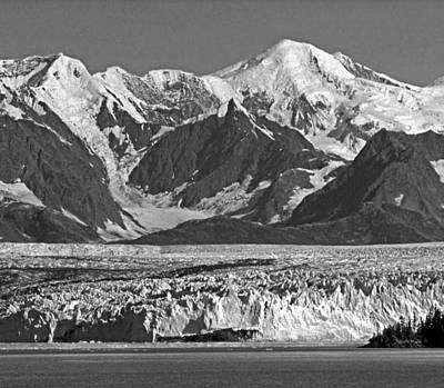 Photograph - T-m1607-eh-bw-mt. Marcus Baker And Columbia Glacier by Ed  Cooper Photography