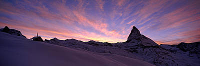 Mt Matterhorn At Sunset, Riffelberg Art Print by Panoramic Images