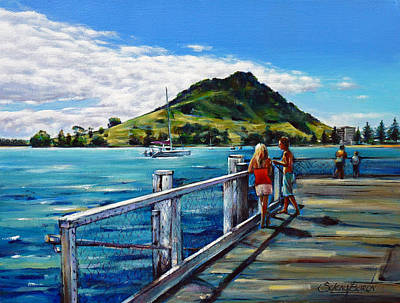 Painting - Mt Maunganui Pier 140114 by Selena Boron