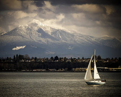 Photograph - Mt Philchuck And Sailboat by Tony Locke
