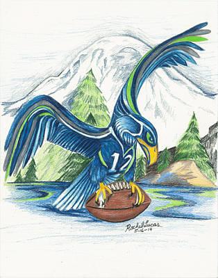 American Football Drawing - Mt Rainer And The Seahawk by Rachel Lucas-Bertsch