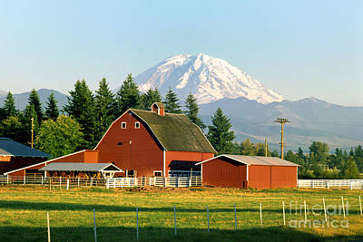 Barns In Snow Photograph - Mt Rainier And Barn by King Wu