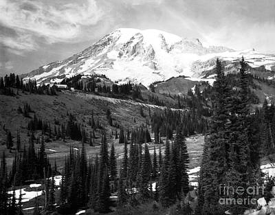 Photograph - Mt. Rainier And Paradise Lodge 1950 by Merle Junk