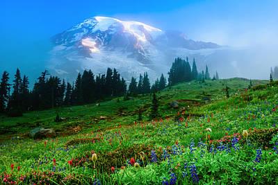 Photograph - Mt. Rainier And Wildflowers by Chris McKenna